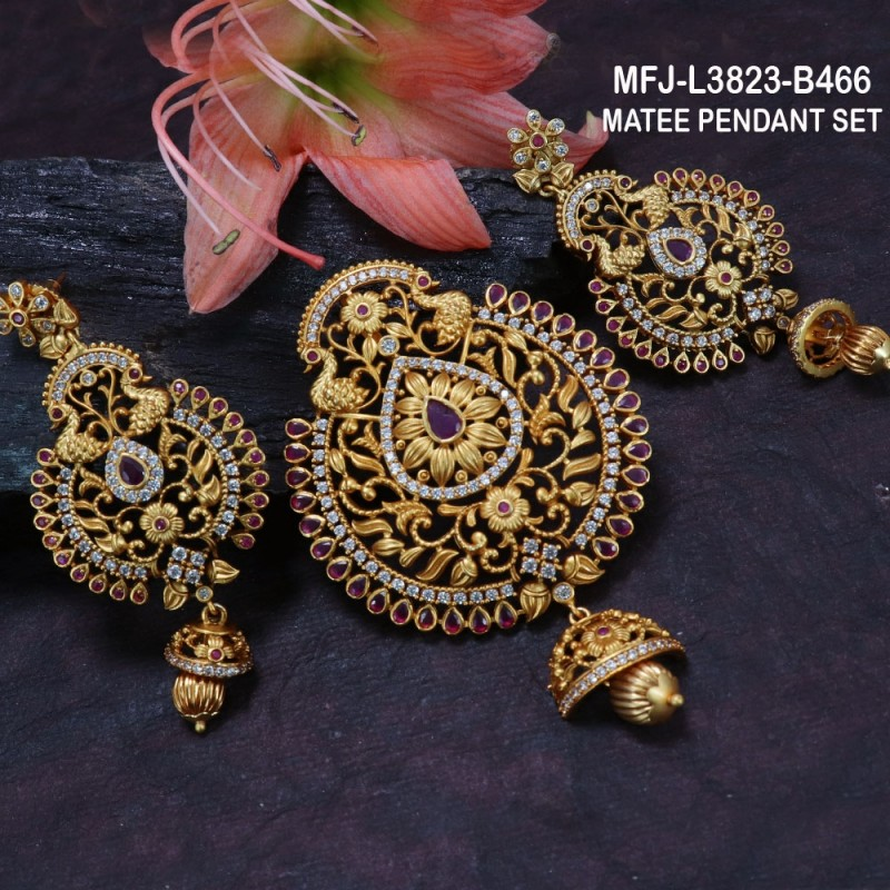 White, Red & Green Colour Stones Peacock & Flowers Design With Pearls Drops Gold Plated Finish Necklace Set Buy Online