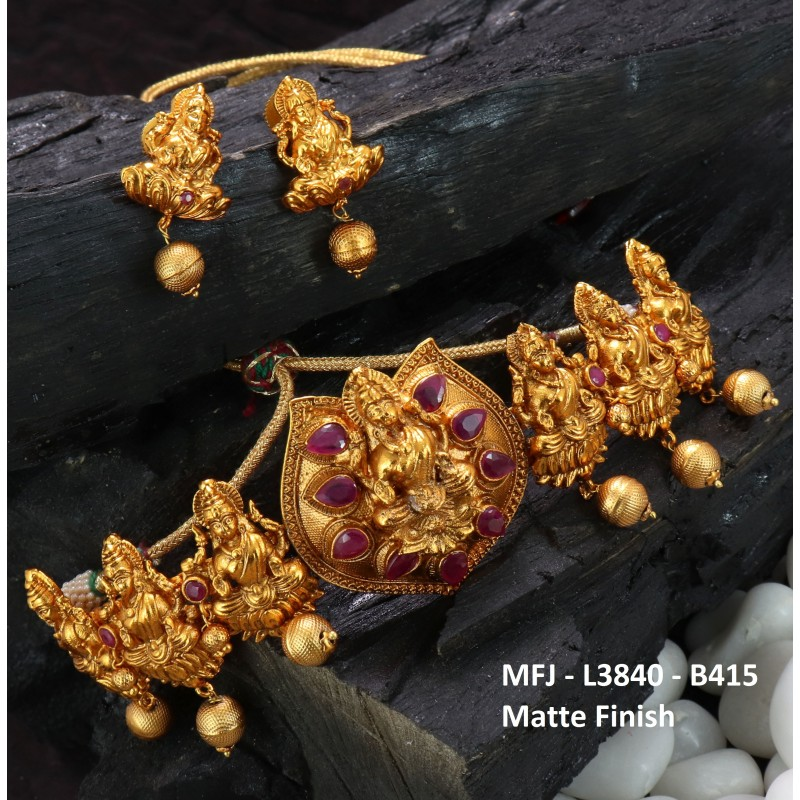 Ruby Stones Designer With Balls Drops Gold Plated Finish Necklace Buy Online
