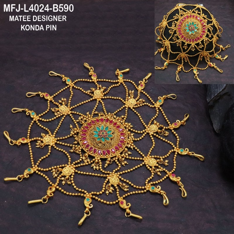 High Quality Kempu & CZ Stones Mango & Flowers Design Pendant With Chain For Bharatanatyam Dance And Temple Buy Online