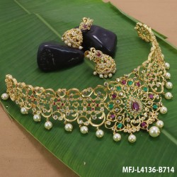 CZ, Ruby & Emerald Stones Flowers & Leaves Design With Pearls Drops Gold Plated Finish Haram Set Buy Online