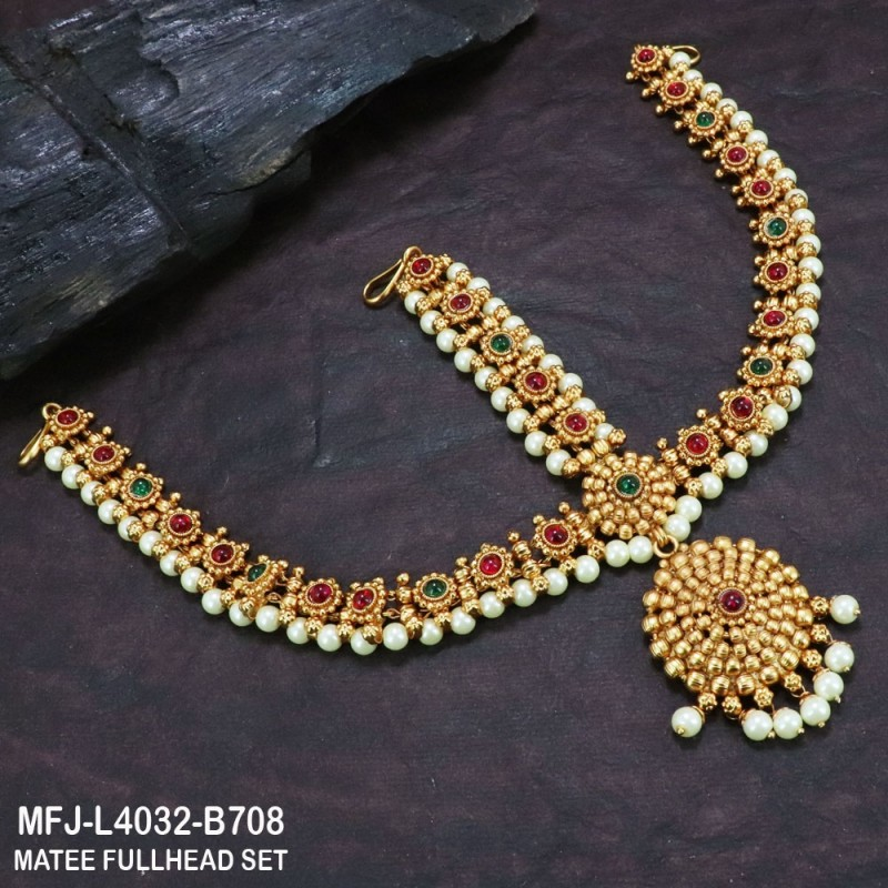 Ruby & Emerald Stones Flowers & Balls Design With Balls Drops Gold Plated Finish Haram Buy Online