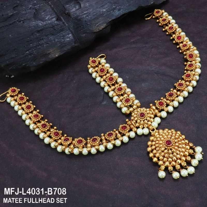 Ruby & Emerald Stones Thilakam, Flowers & Balls Design With Balls Drops Gold Plated Finish Haram Buy Online