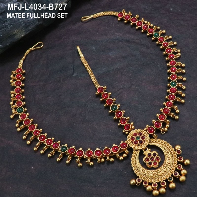 Ruby Stones Flowers & Balls Design With Balls Drops Gold Plated Finish Haram Buy Online