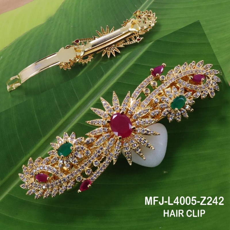 CZ, Ruby & Emerald Stones With Pearls Flowers & Leaves Design Mat Finish Choker Necklace Set Buy Online