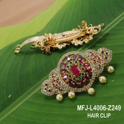CZ, Ruby & Emerald Stones With Pearls Flowers Design Mat Finish Choker Necklace Set Buy Online