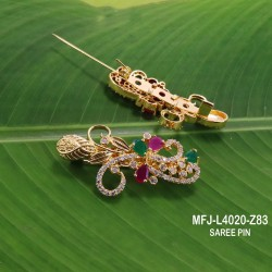 CZ, Ruby & Emerald Stones With Pearls Peacock & Flowers Design Mat Finish Vamki Buy Online