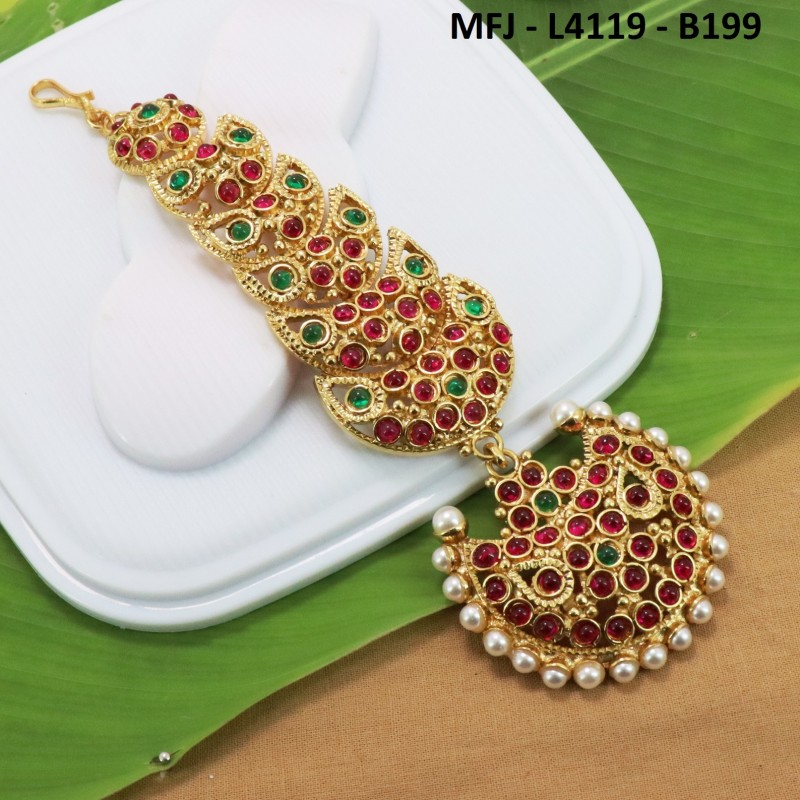 CZ, Ruby & Emerald Stones With Pearls Flowers & Leaves Design Gold Plated Finish Necklace Set Buy Online