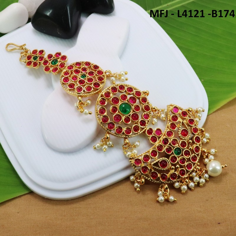 CZ & Ruby Stones With Pearls Peacock & Flowers Design Gold Plated Finish Necklace Set Buy Online