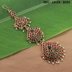 CZ, Ruby & Emerald Stones With Pearls Peacock & Flowers Design Gold Plated Finish Necklace Set Buy Online