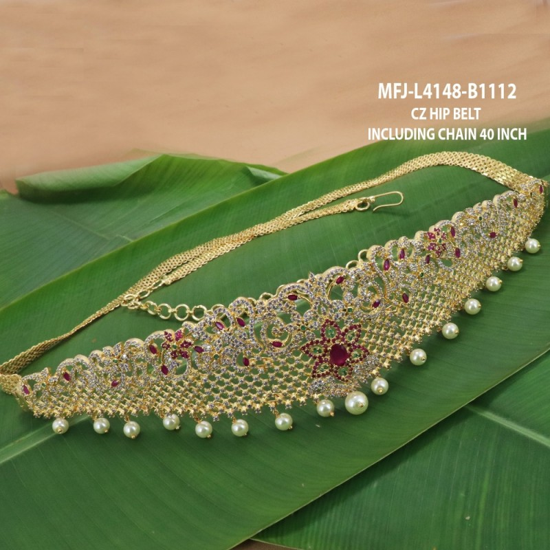 CZ, Ruby & Emerald Stones With Pearls Lakshmi, Peacock & Flowers Design Gold Plated Finish Haram Set Buy Online