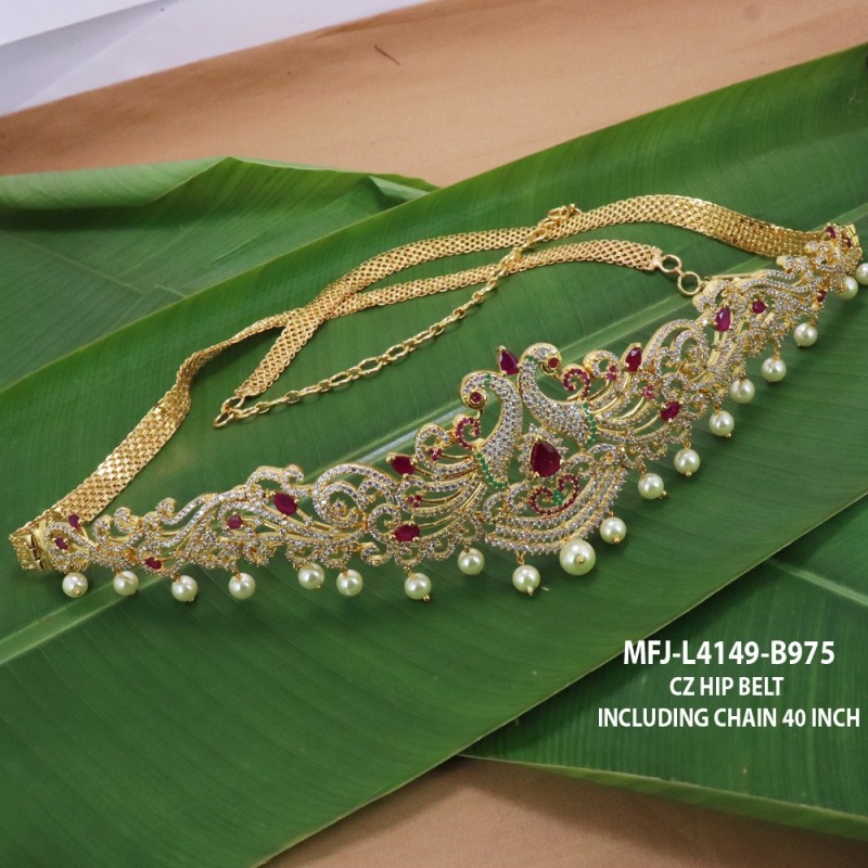 CZ, Ruby & Emerald Stones With Pearls Peacock & Flowers Design Gold Plated Finish Haram Set Buy Online