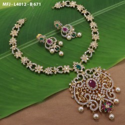 Gold Plated Finish Balls Design Chain With CZ, Ruby & Emerald Stones Peacock Design Pendant & Side Pendants Buy Online