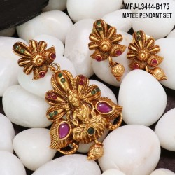 Emerald Stones Flowers, Leaves & Drop Design Gold Plated Finish Necklace Set Buy Online