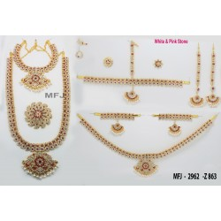 Kempu Stones Lakshmi, Leaves, Flowers & Mango Design With Pearls Drops Mat Finish Hip Chain Buy Online