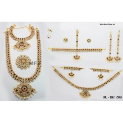 Pearls & Golden Colour Beads With Golden Colour Polished Kempu Stones Balls Chain Set Buy Online