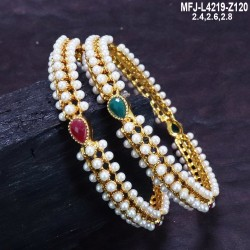Ruby Stones Designer Mat Finish Beads & Pearls Chain With Earrings Set Buy Online