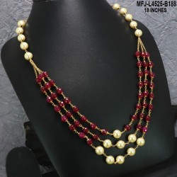 CZ & Ruby Stones Flowers Design With Pearls Drops Gold Plated Finish Jumki Buy Online