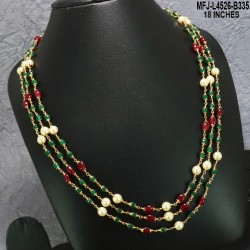 CZ, Ruby & Emerald Stones Flowers Design With Pearls Drops Gold Plated Finish Jumki Buy Online
