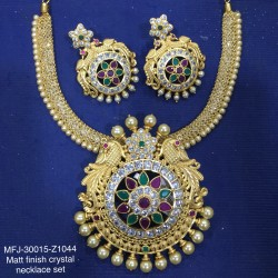 CZ, Ruby & Emerald Stones Flowers Design With Pearls Drops Mat Finish Pendant Set Buy Online