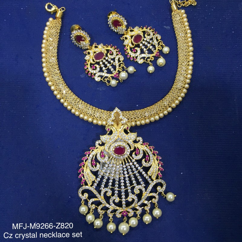 Ruby & Emerald Stones Flowers & Leaves Design With Pearls Drops Mat Finish Pendant Set Buy Online