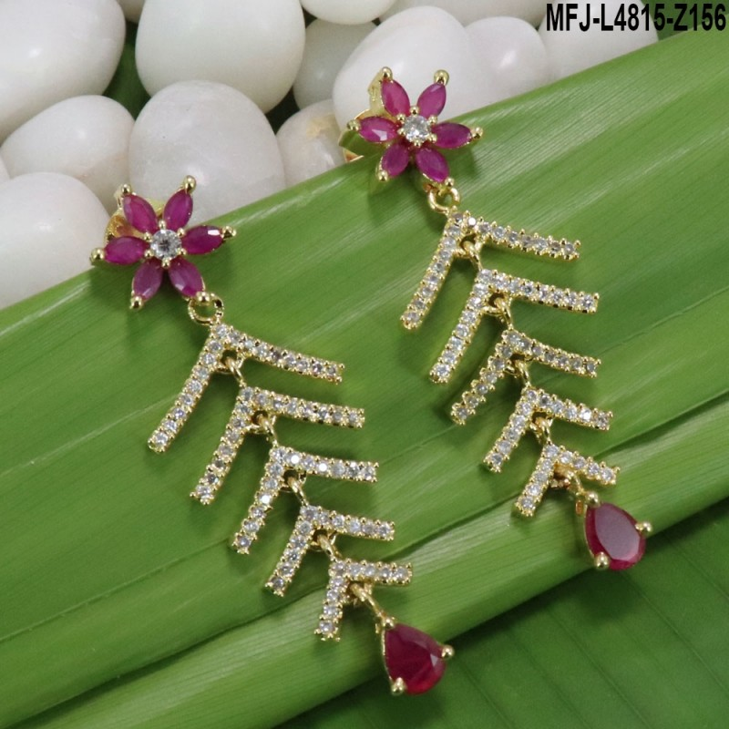 Ruby & Emerald Stones Flowers & Balls Design With Pearls Drops Mat Finish Haram Set Buy Online