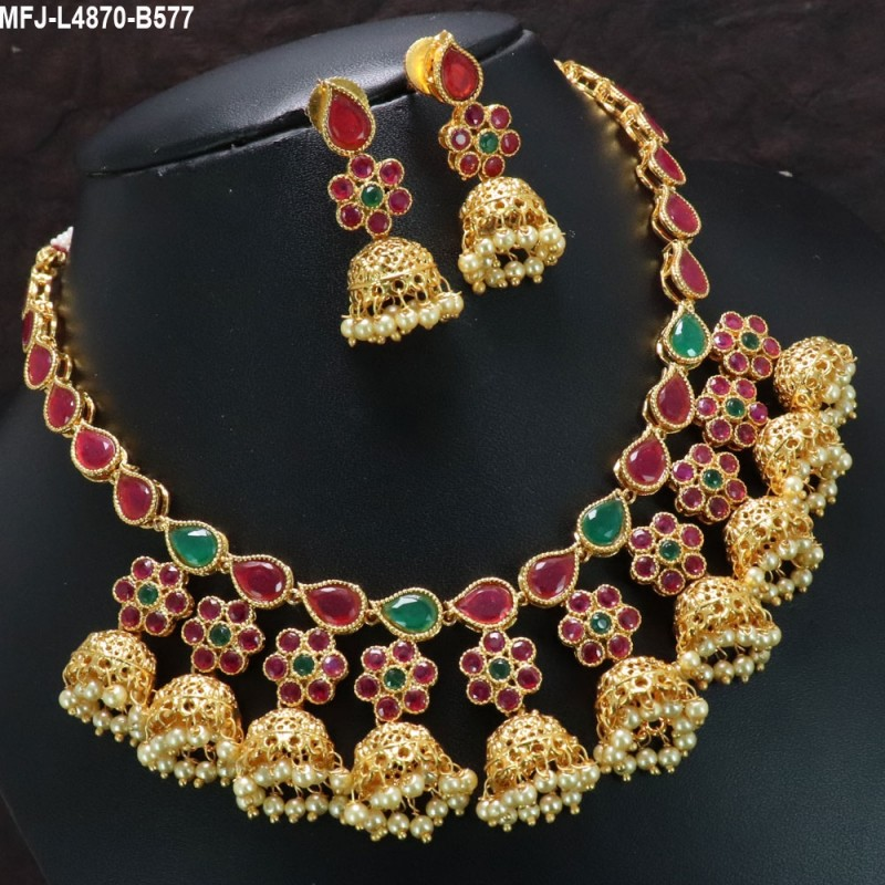 CZ Stones Flowers Design With Pearls Drops Gold Plated Finish Choker Necklace Set Buy Online