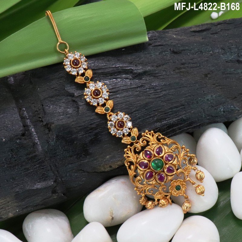 Kempu Stones Flowers & Balls Design With Pearls Drops Mat Finish 3 Side Headset Buy Online
