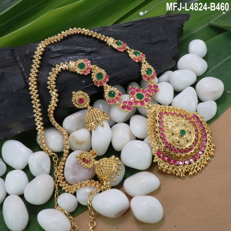 Kempu Stones Flowers Design With Pearls Drops Mat Finish 3 Side Headset Buy Online