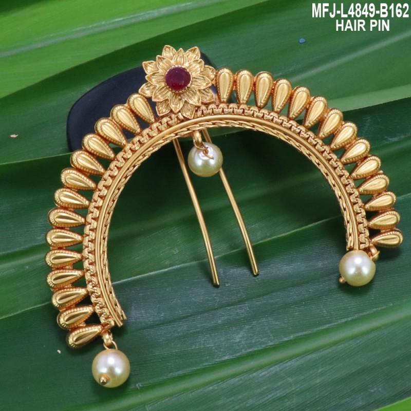 High Quality Kempu & CZ Stones With Pearls Fish & Jumki Design Ear Cuff For Bharatanatyam Dance And Temple Buy Online
