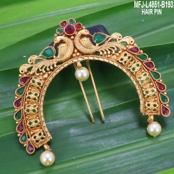 High Quality Kempu Stones With Pearls Drops Flowers Design Earrings For Bharatanatyam Dance And Temple Buy Online