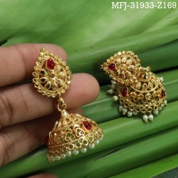 White Stones Designer Gold Plated Finish Earrings Buy Online