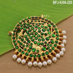 Ruby & Emerald Stones With Balls Drops Peacock, Flowers & Leaves Design Mat Finish Hip Belt Buy Online