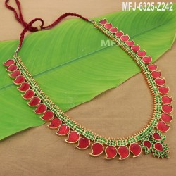 Ruby Stones Flowers & Leaves Design With Pearls Drops Mat Finish Pendant Set Buy Online