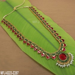 Ruby & Emerald Stones Lakshmi Design With Balls Drops Mat Finish Vamki Buy Online