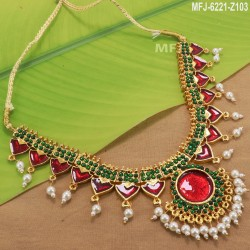 Ruby & Emerald Stones Lakshmi & Peacock Design With Balls Drops Mat Finish Vamki Buy Online