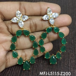 CZ, Ruby & Emerald Stones Flowers, Leaves & Peacock Design With Balls Drops Mat Finish Pendant Set Buy Online