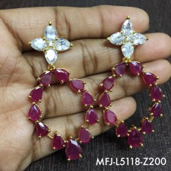 CZ, Ruby & Emerald Stones With Ballls Drops Lakshmi, Peacock & Flowers Design Mat Finish Haram Set Buy Online