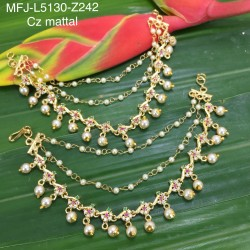 Kempu Stones With Pearls Flower Design Necklace For Bharatanatyam Dance And Temple Buy Online