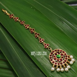Kempu & Multi Colour Stones With Pearls Flowers Design Necklace For Bharatanatyam Dance And Temple Buy Online