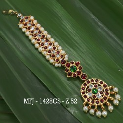 Green Colour Stones With Red Enamel Flowers & Mango Design Anklet Set For Bharatanatyam Dance And Temple Buy Online