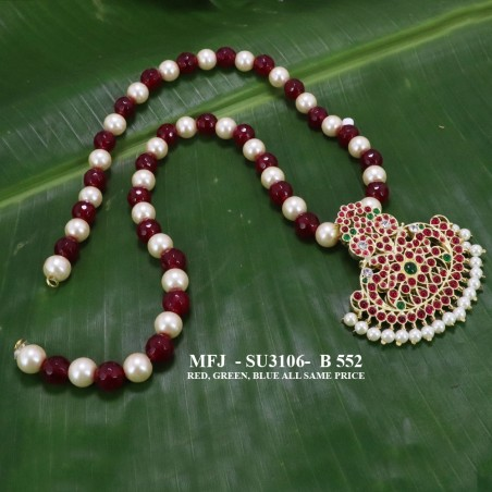 1 Gram Gold Dip Ruby & Emerald Stones Lakshmi Design With Pearls Headset Buy Online