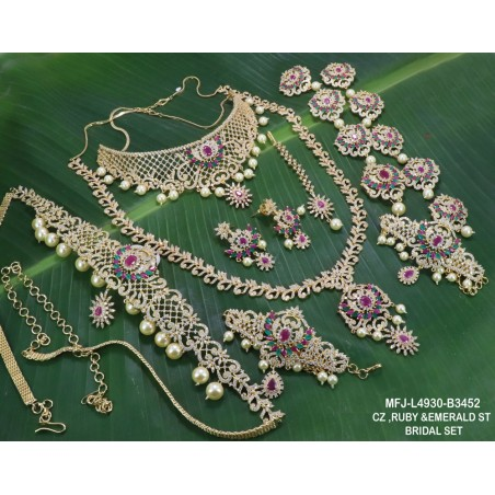 CZ, Ruby & Emerald Stones Flowers & Leaves Design With Gold Plated Finish Necklace Set Buy Online