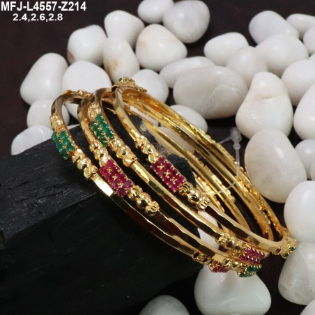 Ruby & Emerald Stones With Pearls Flowers Design Mat Finish Haram Set Buy Online