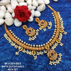 CZ & Blue Stones Flower Design Gold Plated Finish Necklace Set Buy Online
