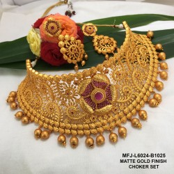 Ruby Stones Flower Design Gold Plated Finish Necklace Set Buy Online