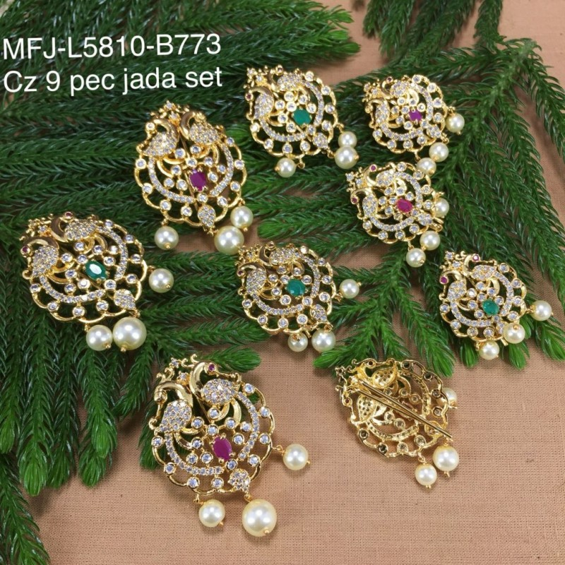 CZ & Ruby & Emerald Stones Flower Perls  Balls With Doubled Design Gold Plated Finish Necklace Set Buy Online