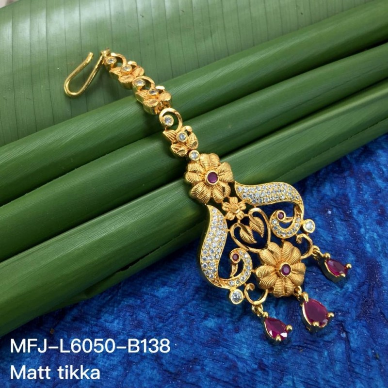 Kempu Stones Flowers & Leaves Design With Pearls Drops Gold Plated Finish 3 Side Headset Buy Online