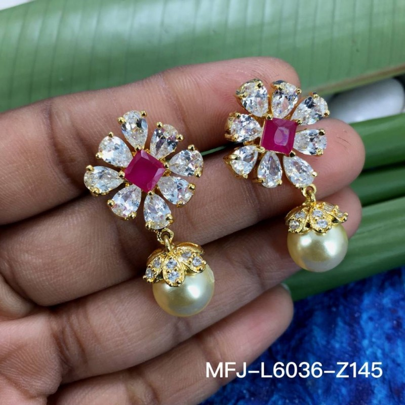 Kempu Stones Flowers & Thilakam Design With Pearls Drops Gold Plated Finish 3 Side Headset Buy Online