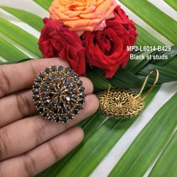 1 GM Gold Dipped With Ruby & Emerald Stones With Peacock & Lakshmi Designed Open Type KumKum Box Online