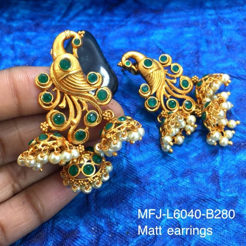 Ruby & Emerald Stones With Pearls Flowers Design Mat Finish Combo Bridal Set Buy Online